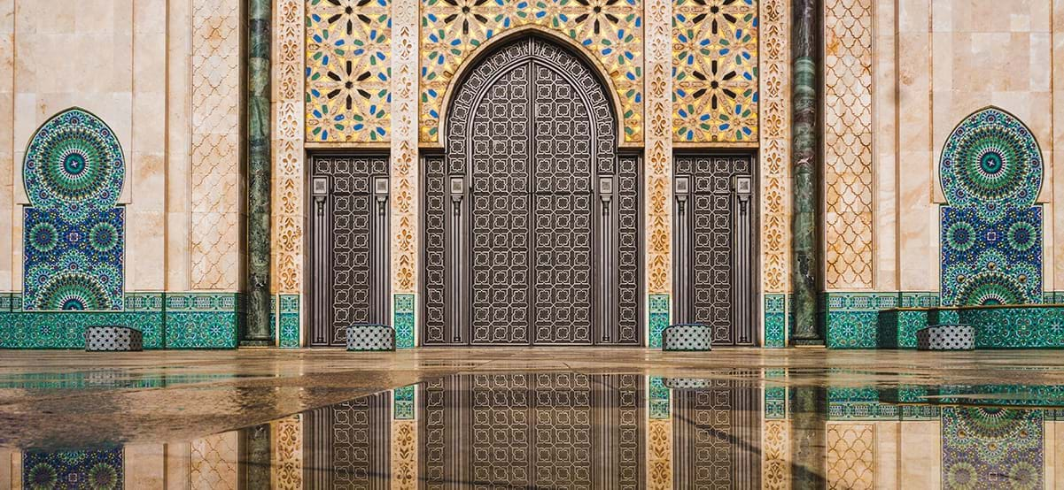 View of Hassan II Mosque gate, Casablanca, Morocco, Africa
