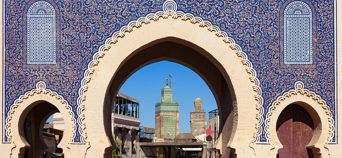 View of Bab Bou Jeloud blue gate, luxury travel destination Fes El Bali, Medina, Morocco, Africa