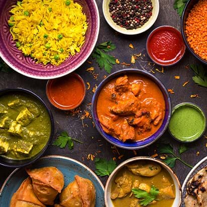 Delicious traditional Indian food during a luxury international culinary vacation to India