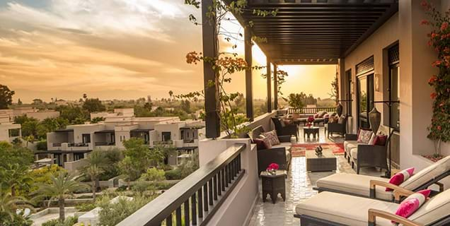 Balcony view from The Four Seasons Marrakech suite, Morocco, Africa