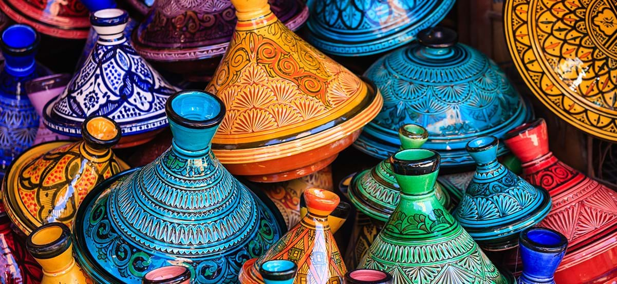 Tajine pots at Souk market, luxury family vacation, Marrakech, Morocco, Africa