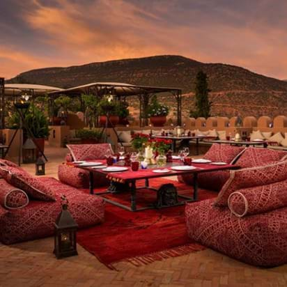 Rooftop view from Kasbah Tamadot resort, Marrakech, Morocco, Africa
