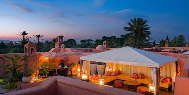 View of Royal Mansour luxury hotel in Marrakech, Morocco