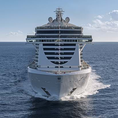 View of MSC Cruise at sea during luxury family vacation