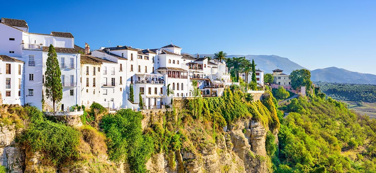 Ronda Spain old town cityscape on the Tajo Gorge