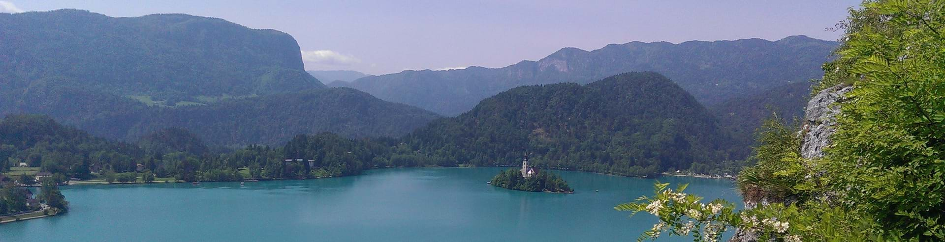 View of Lake Bled during luxury family vacation in Slovenia
